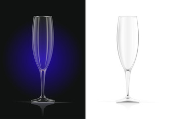 Champagne glass. Wines glassware in dark and white background.