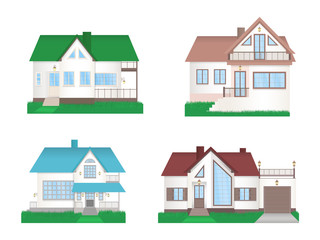 Vector set of private colorful houses with grass. Flat design.