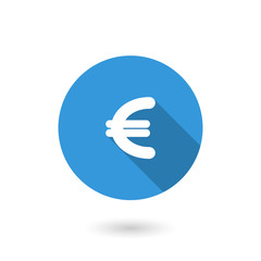 Money euro icon. Flat design style modern illustration. Isolated on white color background. Flat long shadow icon. Elements in flat design