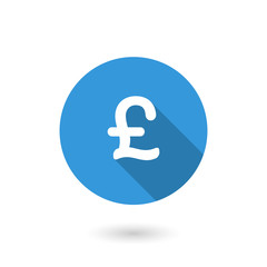 Money pound icon. Pound GBP currency symbol. Flat design style modern illustration. Isolated on white color background. Flat long shadow icon. Elements in flat design