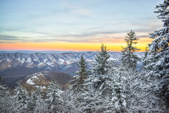 Mountains overview at the top of the highest peak in the Allegheny Mountains, West Virginia, USA snow surroundings