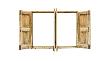 residential wood window frame isolated (empty void)