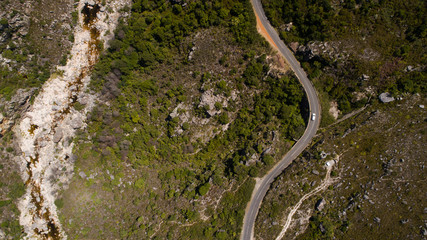 Aerial views over the Bainskloof pass in the boland region in the western caoe of south africa