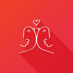 Birds in love icon red background