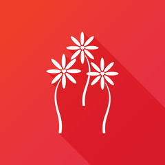 Heart flower icon red background