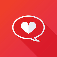 Heart in speech bubble icon. illustration
