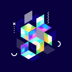 Abstract colorful geometric isometric shape background