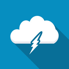 Lightning bolt icon design. Icons for mobile or web interface . Modern flat icon with long shadow effect