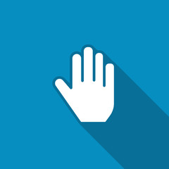 Hand icon. Flat icon with long shadow