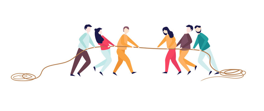 Excited man woman pull rope. Tug of war competition between two teams. Concept of sports activity for teens. team work competitive fight. Vector illustration.