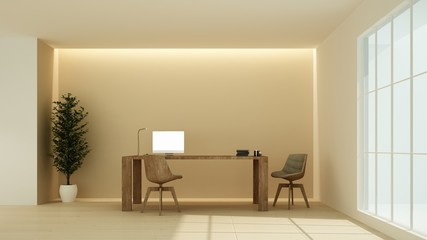 Relax space interior 3D rendering in hotel -  minimal style