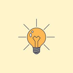 light bulb and lighting fild outline icon. Element of idea and solutions for mobile concept and web apps. Fild outline icon for website design and development