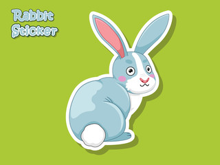 Cute Cartoon Rabbit Sticker. Vector Illustration With Cartoon Style Funny Animal.