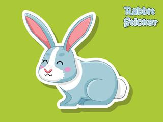 Cute Cartoon Rabbit Sticker. Vector Illustration With Cartoon Style Funny Animal.