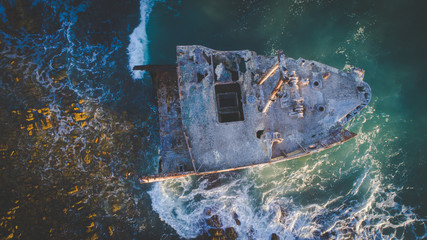 Aerial image of the Meisho Maru shipwreck close to Agulhas at the Southern most tip of Africa in South Africa