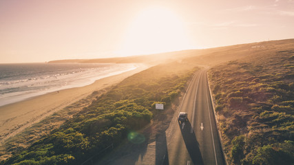 Aerial View of Great Ocean Road and People Walking Along Beaches