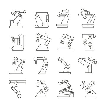 robotic arm icons set, industrial robot  line icons