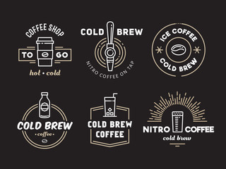 Cold brew coffee and nitro coffee logos. Vector line art badges for cafe of coffee shop.