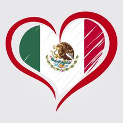 Mexico flag background. Love Mexico emblem