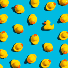 One out unique rubber duck concept on a blue background