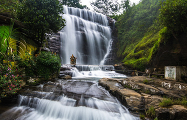 Dunsinane Falls is a waterfall in Nuwara Eliya District of Sri Lanka. It is situated in Pundaluoya village and between the Tea estates known as Dunsinan and Shin.
