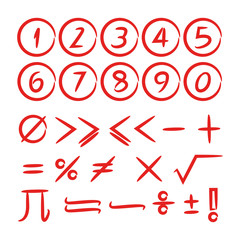 math icons and number