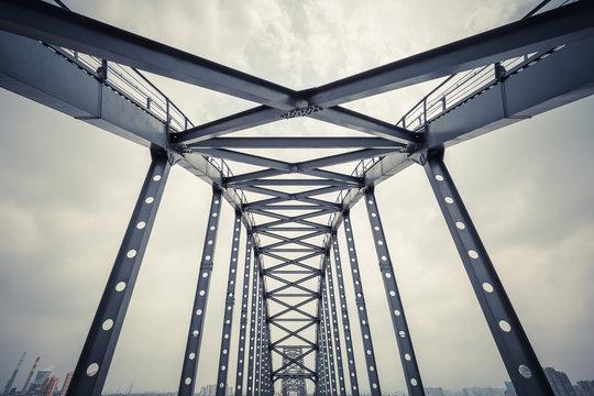 steel framework bridge closeup