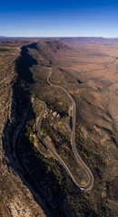 Aerial panoramic views over the Van Rhyn's pass outside Nieuwoudtville overlooking the Knersvlakte in the Northern Cape of South Africa