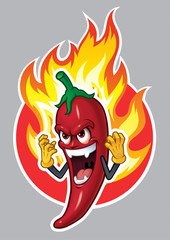 Cartoon Chili Character with Fire_Vector Illustration eps 10