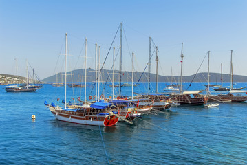 Bodrum, Turkey, 23 May 2011: Gulet Wooden Sailboats at Cove of Kumbahce
