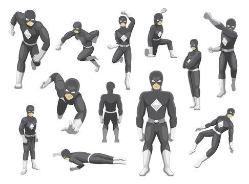 Superhero Mask Poses Cartoon Emotion faces Vector Illustration