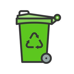 Trash can and recycle symbol filled line flat icon