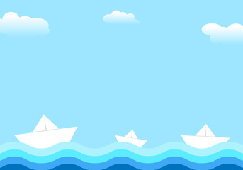 Paper ships on water. Clouds in the sky. Vector illustration.