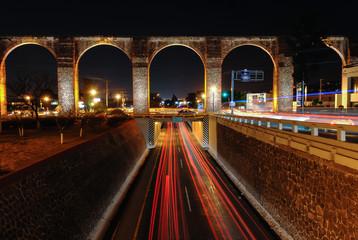 Queretaro's Aqueduct at Night Wall mural