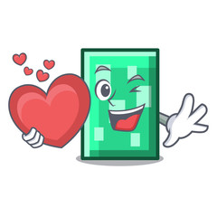 With heart rectangle mascot cartoon style