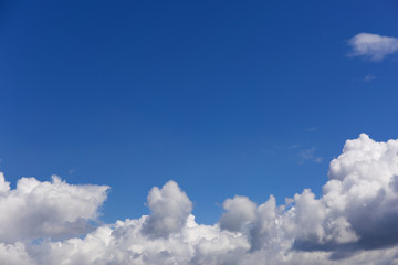 Blue clean sky with white clouds.