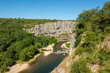 "Beautiful landscape with gorges and rocks at the river Ardeche at ""Cirque des Gens"" near the small village Chauzon in the south of France"