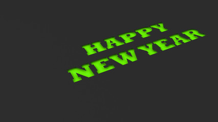 green happy new year words cut in black paper