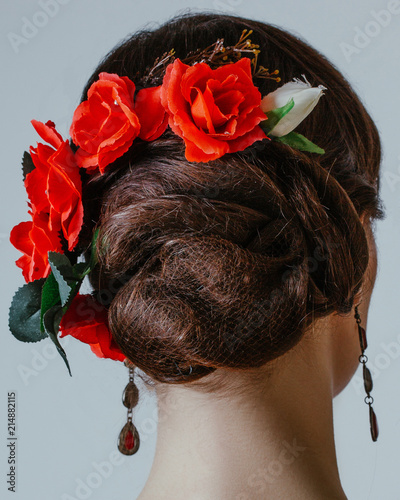 Hairstyle Braidedhair Red Rose Isolated Background Stock Photo And