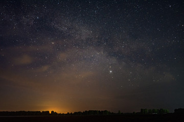 The milky way over the field