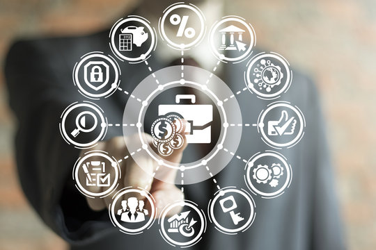 Investment Financial concept. Invest technology banking business technology. Businessman clicks a briefcase with money button on a virtual panel.