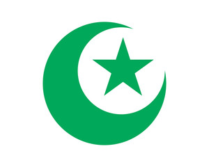 green moon star islam muslim religion spirituality religious image vector icon