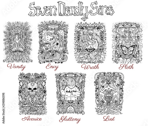 Set With Seven Deadly Sins Characters In Frames Black And White