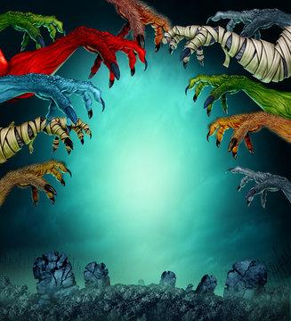 Monsters In A Spooky Graveyard