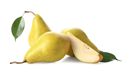 Wall Mural - Delicious ripe pears on white background