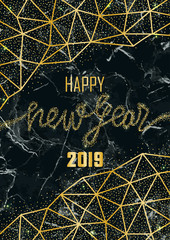 Luxury Golden Glitter Happy New Year 2019