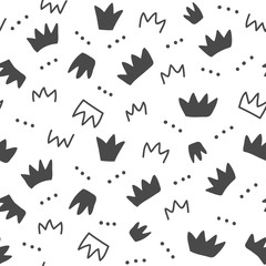 Seamless pattern with hand drawn crowns, isolated on white