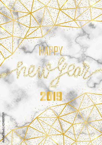 luxury golden glitter happy new year 2019