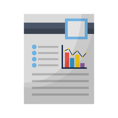 document file with statistics bars graphic