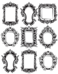 Baroque Mirror frames set collection. Vector French Luxury rich intricate ornaments. Victorian Royal Style decors